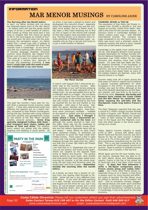 costa calida chronicle CJ article september-2014